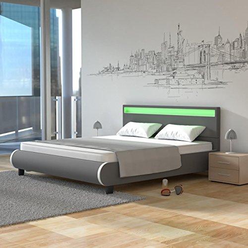 Homelux LED Bett Polsterbett Kunstlederbett Doppelbett Bettgestell Bettrahmen 140 x 200 cm Grau