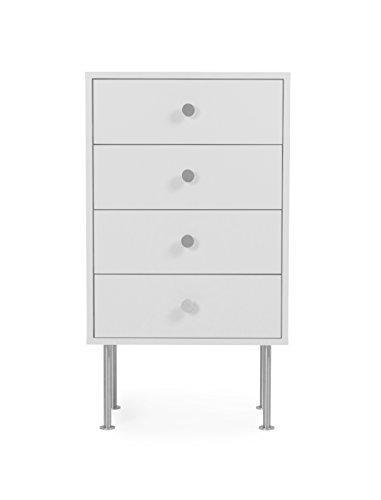 Tenzo 1784-001 Yay Designer Kommode, Holz, weiß, 35 x 50 x 91 cm