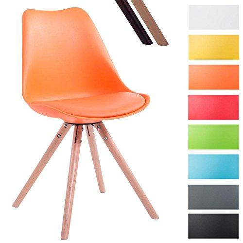 CLP Design Retro-Stuhl TOULOUSE RUND, Kunststoff-Lehne, Kunstleder-Sitz gepolstert Orange, Holzgestell Farbe natura, Bein-Form rund