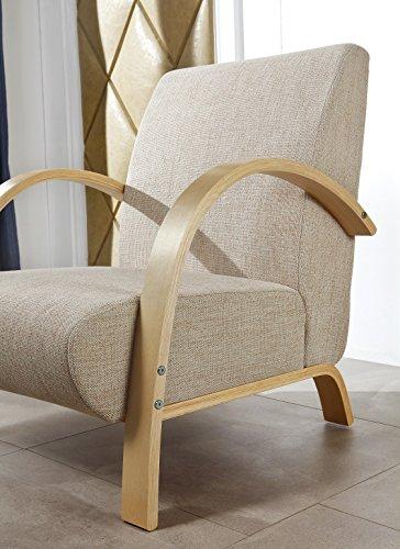 i-flair® - Polstersessel, Einzelsofa, Lounge Sessel mit hochwertigem gepolsterten Stoffbezug - BEIGE SANDFARBE NATUR