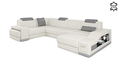 Design Ledersofa Wohnlandschaft Leder Couch Sofa Ledercouch Eckcouch U-Form mit LED-Licht Beleuchtung PRATO