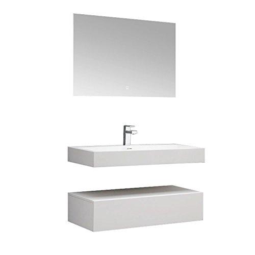 STONEART Badmöbel LP4510 SET weiß 100x48cm glänzend