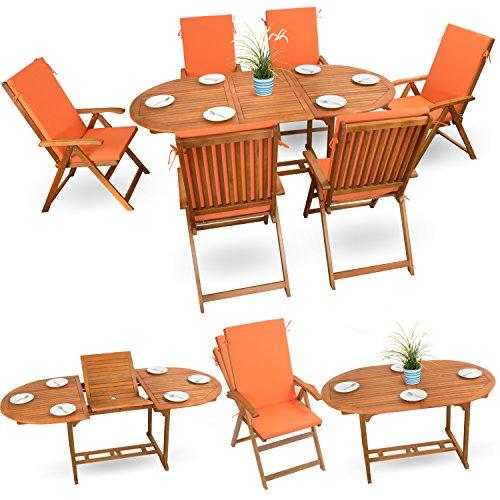 13-tlg Gartenmöbel Set Sitzgruppe Holzmöbel Sitzgarnitur Essgarnitur Holz Akazie geölt # 6x verstellbarer Klappstuhl # 1x ausziehbarer Klapptisch # 6x Sitz Auflagen # orange