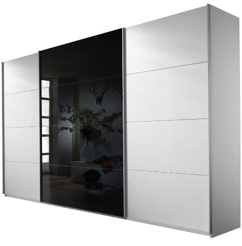 Rauch Schwebetürenschrank Kleiderschrank 3-türig Weiß Alpin, Glas Absetzung Schwarz, BxHxT 316x210x62 cm