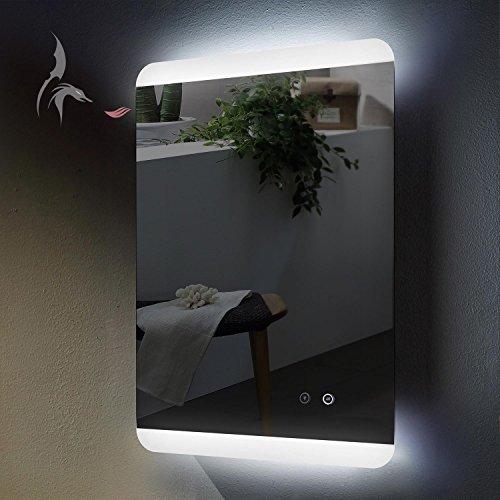 TOP AKTION WEIHNACHTEN! LED Bad Spiegel beleuchtet mit ANTIBESCHLAG SPIEGELHEIZUNG, Essen 50x70cm, Montage Hoch- und Querformat möglich, Badezimmerspiegel mit Licht oben und unten, Energieklasse A+