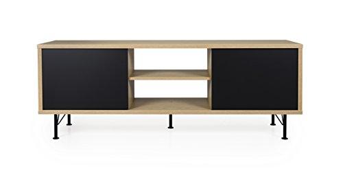 Tenzo Flow TV-Bank, Holz, schwarz / eiche, 164 x 44 x 60 cm