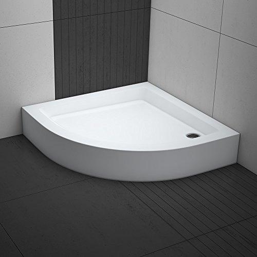 Duschwanne / Duschtasse Komplettset AQUABAD® NORMA | Maße: 90x90cm viertelkreis R55 | 3x Standfüße und einer Viega Domoplex Ablaufgarnitur