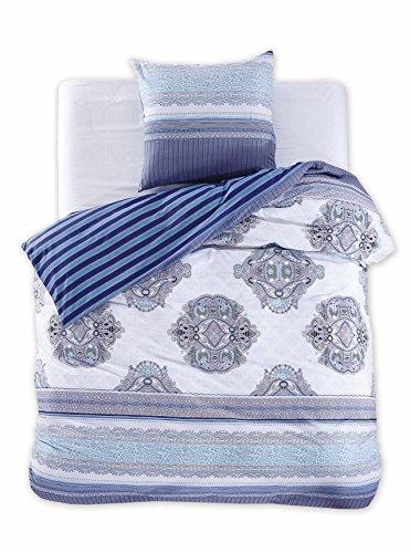 135x200 cm Bettwäsche mit 1 Kissenbezug 80x80 Renforcé Bettwäscheset Bettbezüge 100% Baumwolle Bettwäschegarnituren Reißverschluss Diamond Collection Brooke blau dunkelblau hellblau weiß