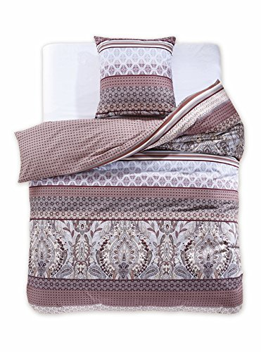 135x200 cm Bettwäsche mit 1 Kissenbezug 80x80 Renforcé Bettwäscheset Bettbezüge 100% Baumwolle Bettwäschegarnituren Reißverschluss Diamond Collection Knight creme ecru braun schoko