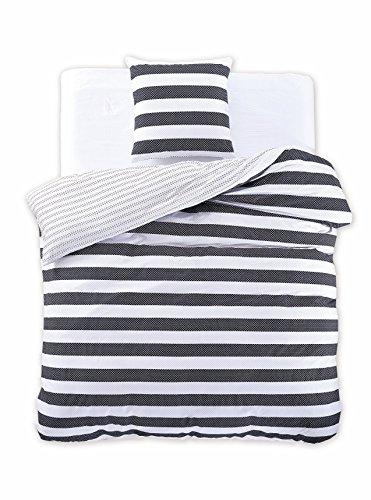 135x200 cm Bettwäsche mit 1 Kissenbezug 80x80 Renforcé Bettwäscheset Bettbezüge 100% Baumwolle Bettwäschegarnituren Reißverschluss Diamond Collection Marco schwarz weiß