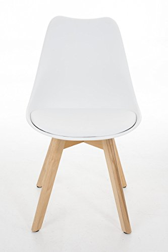 CLP Design Retro Stuhl BORNEO, Holzgestell, Sitz Kunststoff / Kunstleder, gepolstert Weiß, Holzgestell Farbe natura