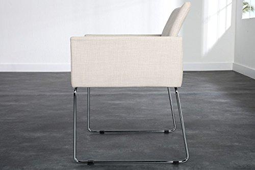 DuNord Design Esszimmerstuhl Stuhl 2er SET MARCO Strukturstoff beige Design Konferenzstuhl