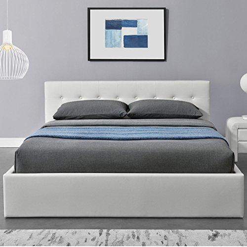 "Polsterbett ""Marbella"" - 140 x 200 cm - weiß mit Lattenrost & Kaltschaummatratze"