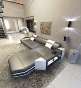 Ledersofa Prato L-Form grau - weiss Ecksofa Design Sofa 1