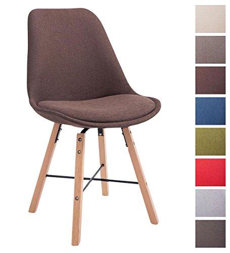 CLP Design Retro Stuhl LAFFONT, Sitz-Bezug Stoff Braun, Holzgestell Farbe natura