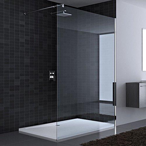 140x200 cm Luxus Duschwand aus Echtglas Bremen1K, mit 4-eckigem Stabilisator BRAM2, 8mm ESG Sicherheitsglas Klarglas, inkl. Nanobeschichtung
