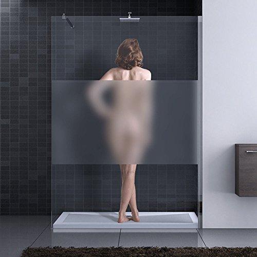 140x200 cm Luxus Duschwand aus Echtglas Bremen1MS, ESG Sicherheitsglas satiniert, inkl. Nanobeschichtung, Duschabtrennung, Dusche, Walk-In Dusche