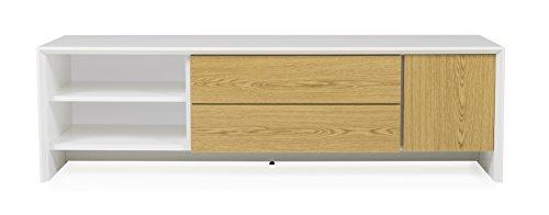 Tenzo 5944-450 Profil Melamin Designer TV-Bank, Holz, weiß / eiche melamin, 47 x 150 x 44 cm