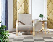i-flair® - Polstersessel, Einzelsofa, Lounge Sessel mit hochwertigem gepolsterten Stoffbezug - BEIGE SANDFARBE NATUR 1