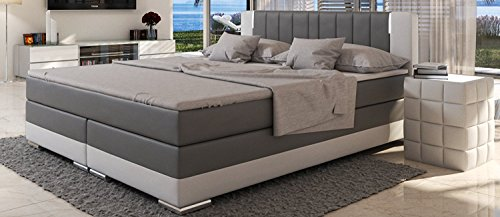 SalesFever® LED-Boxspringbett 180x200 Brooklyn   Grau-Weiß   H3 Bonellfederkern-Matratze + hochwertiger Topper   FSC® 100%