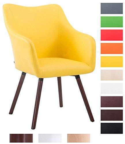 CLP Design Besucher-Stuhl MCCOY V2 mit Kunstlederbezug, max. Belastbarkeit 160 kg, Esszimmerstuhl mit Holzgestell, gepolstert Gelb, Gestellfarbe: walnuss