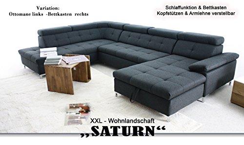 ARBD Wohnlandschaft SATURN XXL-Sofa, hell-grau, U-Form mit Schlaffunktion und Bettkasten (Bettkasten rechts (OTM-2F- BK/rec))