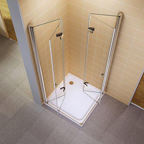 i-flair® - Falttür Duschkabine 75x90x190 cm aus Sicherheitsglas (ESG) OHNE Duschwanne - ALLE GRÖßEN #99