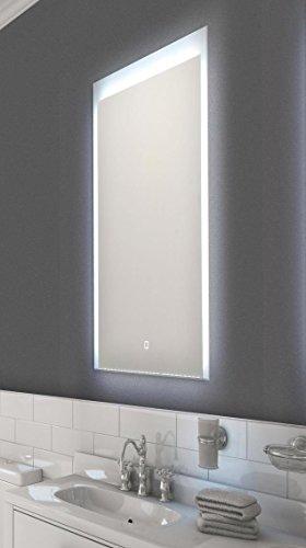 LED Wandspiegel für Bad- Touch Sensor, Satinierte Lichtflächen, 50 x 70 cm [Energieklasse A+]