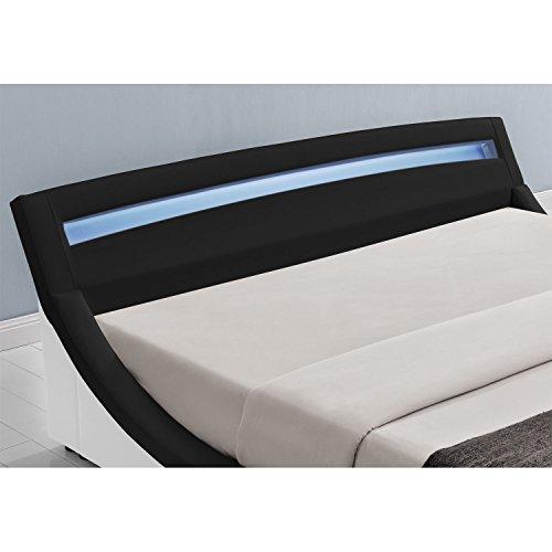 Polsterbett Malaga 180 x 200 cm mit LED Kopfteil - schwarz