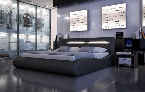 SAM® Polsterbett Sprint II in schwarz 180 x 200 cm modernes abgerundetes Design Kopfteil mit Beleuchtung Wasserbett geeignet