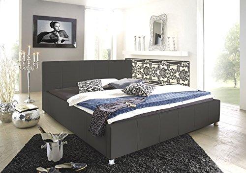SAM Design Polsterbett, 200x200 cm Katja, grau, Bett aus Kunstleder, abgestepptes Kopfteil, stilvolle Chromfüße