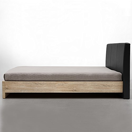 "[en.casa] Design Polsterbett ""Skandinavia"" (180x200cm)(Furnier - Eiche Natur | Polster schwarz) modernes Bett / Kunst-Leder / mit Stecklattenrost /"