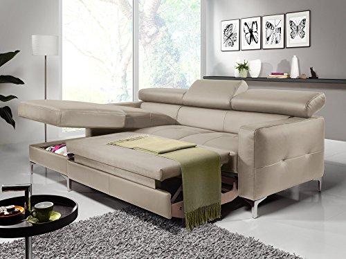 Cotta Y363563 H354 Polsterecke in weichem Kunstleder, Bettfunktion und Bettkasten 169 x 226 cm, sand, Recamiere links mit chromfarbenen Fuss