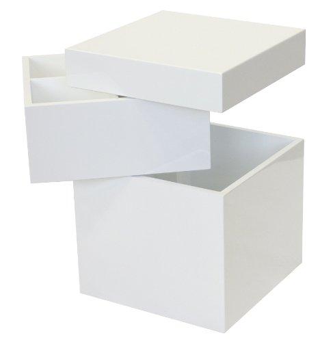 Tenzo 4853-071 Bloc - Designer Turm / Stauraum 55 x 36 x 36 cm, weiß hochglanz