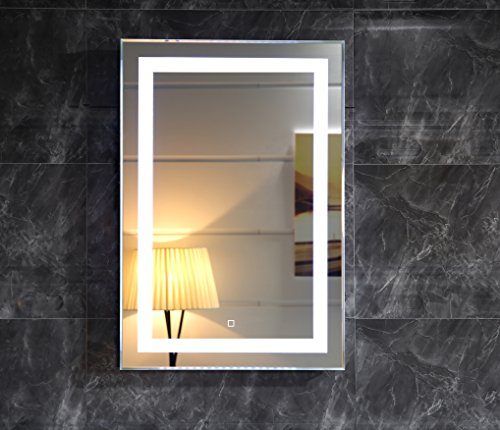 Dr. Fleischmann LED-Beleuchtung Badspiegel GS099 Lichtspiegel Wandspiegel 50x70cm mit Touch-Schalter Tageslichtweiß IP44