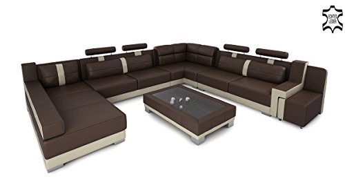 ledersofa ledercouch xxl u form braun wei hamburg 1 m bel24. Black Bedroom Furniture Sets. Home Design Ideas