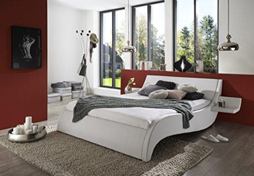 SAM Polsterbett 200x200 cm Macao, Bett aus Kunstleder, weiß, geschwungenes Kopf- und Seitenteil, inkl. zwei Nachttischablagen