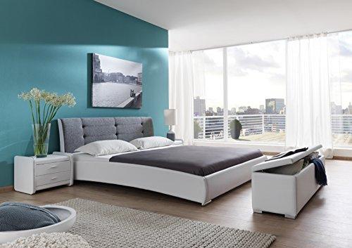 SAM® Polsterbett 120x200 cm Bastia, weiß-grau, Bett mit gepolstertem, hohen Kopfteil, Chrom-Füße, als Wasserbett verwendbar