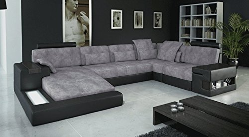 ecksofa wohnlandschaft u form beige braun leder stoff latium m bel24. Black Bedroom Furniture Sets. Home Design Ideas