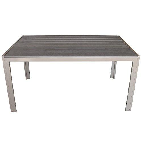 Wohaga® Aluminium Esstisch Gartentisch mit Polywood / Non Wood Tischplatte 150x90xH74 Champagner/Mokka Gartenmöbel Terrassenmöbel