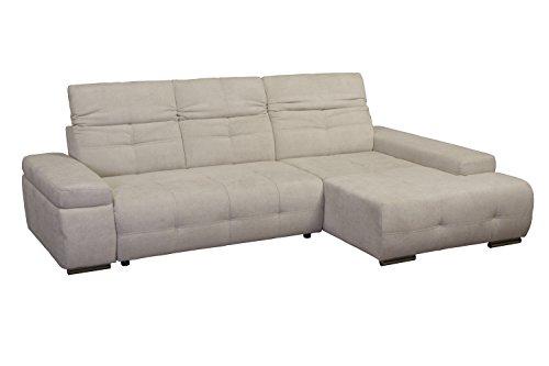Cavadore Polsterecke Mistrel mit Longchair XL rechts / Eck-Couch mit Schlaffunktion / Bettfunktion / verstellbare Kopfteile / Wellenunterfederung / Maße:  273 x 77-93 x 173 cm (B x H x T) / Farbe: Grau/Weiß