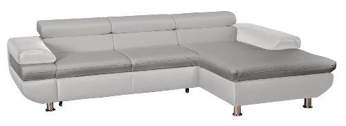 Cavadore 5011 Polsterecke Caponelle, 3-er Bett mit Kopfteilverstellung, Longchair, 279 x 72 - 88 x 177 cm, Kunstleder Bison, light grau / pure weiß