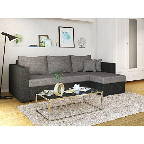 Ecksofa mit Schlaffunktion Grau Schwarz - Stellmaß: 224 x 144 cm - Liege-Fläche: 200 x 140 cm - Sofa Couch Schlafsofa Polsterecke Bettfunktion