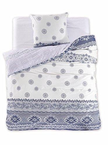 155x220 cm Bettwäsche mit 1 Kissenbezug 80x80 Renforcé Bettwäscheset Bettbezüge 100% Baumwolle Bettwäschegarnituren Reißverschluss Diamond Collection Anne blau dunkelblau creme ecru