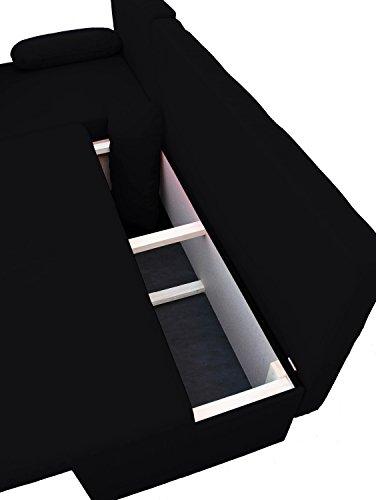 VCM Ecksofa / Couch mit Schlaffunktion / Stoff oder Kunstleder Schwarz