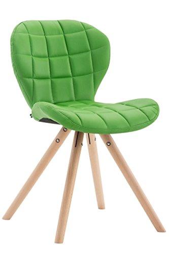 CLP Design Retro-Stuhl ALYSSA, Bein-Form rund, Kunstleder-Sitz gepolstert, Lounge-Sessel, Buchenholz-Gestell, Grün, Gestellfarbe: Natura