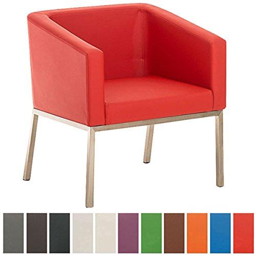 CLP Retro Edelstahl Lounge-Sessel NALA, mit Armlehne, Sitzhöhe 44 cm, 8 cm Polster Rot