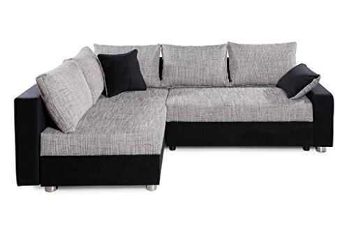 B-famous 100736 Polsterecke mit Bettfunktion und Bettkasten Ecksofa, Stoff, schwarz / grau, 161 x 224 x 83 cm