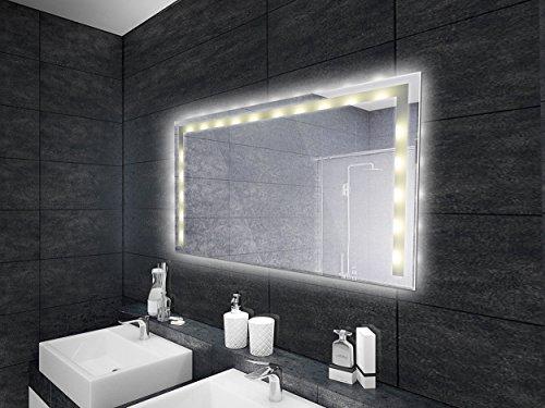 KROLLMANN Badspiegel mit LED-Beleuchtung / Druckschalter, 80 x 60 cm, Spiegel mit Tageslicht Beleuchtung