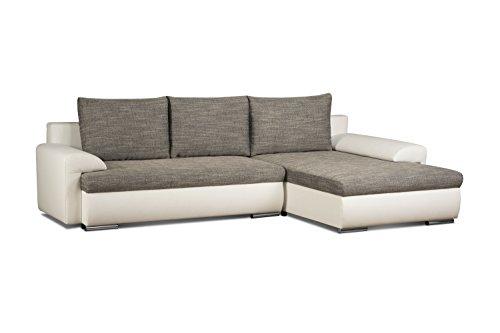 Cavadore 5171 Polsterecke L-Form Ecksofa, Schaumstoff, grau / weiß, 262 x 163 x 69 cm